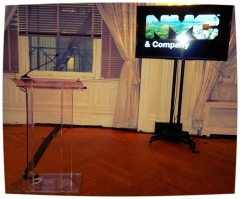 Sound and lighting rental, broadcast equipment rental, microphone rentals NYC: rent clear podium, wooden black podium, other audiovisual rentals New York